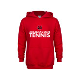 Youth Red Fleece Hoodie-Tennis Stacked Text