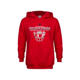 Youth Red Fleece Hoodie-Camellia Bowl Face Mask Design