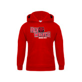 Youth Red Fleece Hood-Red Wolves Stacked Head Centered
