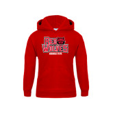 Youth Red Fleece Hood-Red Wolves Stacked Head on Right