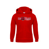 Youth Red Fleece Hood-Red Wolves w/Red Wolf Head Centered