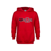 Youth Red Fleece Hoodie-Red Wolf Head w/A State