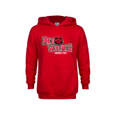 Youth Red Fleece Hoodie-Red Wolves Stacked Head Centered