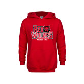 Youth Red Fleece Hoodie-Red Wolves Stacked Head on Right