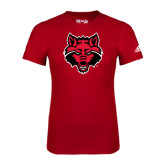 Adidas Red Logo T Shirt-Red Wolf Head