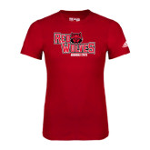 Adidas Red Logo T Shirt-Red Wolves Stacked Head Centered