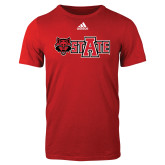 Adidas Red Logo T Shirt-Red Wolf Head w/A State