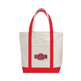 Contender White/Red Canvas Tote-A State