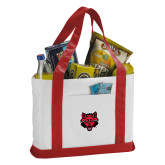 Contender White/Red Canvas Tote-Red Wolf Head