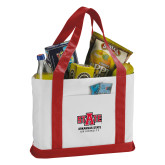 Contender White/Red Canvas Tote-University Mark
