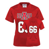 Ladies Red Replica Football Jersey-#66