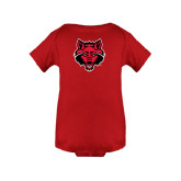 Red Infant Onesie-Red Wolf Head