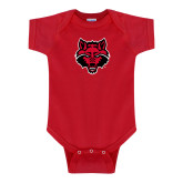 Red Infant Onesie-Red Wolf Head