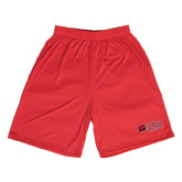 Syntrel Performance Red 9 Inch Length Shorts-Red Wolf Head w/A State