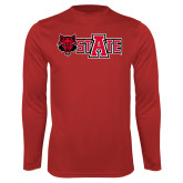 Performance Red Longsleeve Shirt-Red Wolf Head w/A State