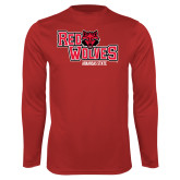 Performance Red Longsleeve Shirt-Red Wolves Stacked Head Centered
