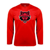 Syntrel Performance Red Longsleeve Shirt-Red Wolf Head