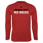 Performance Red Longsleeve Shirt-Arkansas State Red Wolves Stacked Block