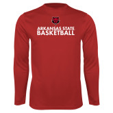 Syntrel Performance Red Longsleeve Shirt-Basketball Stacked Text