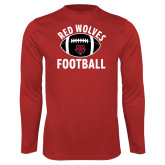 Performance Red Longsleeve Shirt-Football Distressed Ball
