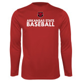 Performance Red Longsleeve Shirt-Baseball Stacked Text
