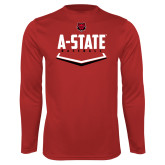 Performance Red Longsleeve Shirt-Baseball Abstract Plate