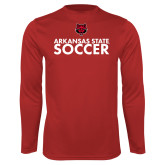 Performance Red Longsleeve Shirt-Soccer Stacked Text