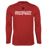 Performance Red Longsleeve Shirt-Volleyball Stacked Text