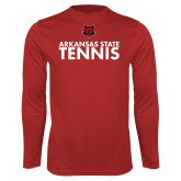 Performance Red Longsleeve Shirt-Tennis Stacked Text