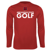 Performance Red Longsleeve Shirt-Golf Stacked Text