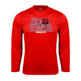 Syntrel Performance Red Longsleeve Shirt-Red Wolves Stacked Head on Right