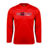 Syntrel Performance Red Longsleeve Shirt-Red Wolves w/Red Wolf Head Centered