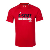Adidas Climalite Red Ultimate Performance Tee-A-State Adidas Logo