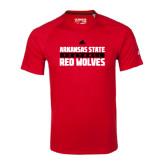 Adidas Climalite Red Ultimate Performance Tee-Football Adidas Logo