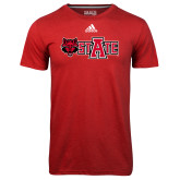 Adidas Climalite Red Ultimate Performance Tee-Red Wolf Head w/A State