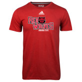 Adidas Climalite Red Ultimate Performance Tee-Red Wolves Stacked Head Centered