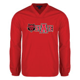 Colorblock V Neck Red/White Raglan Windshirt-Red Wolf Head w/A State