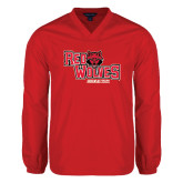 Colorblock V Neck Red/White Raglan Windshirt-Red Wolves Stacked Head Centered