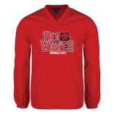 Colorblock V Neck Red/White Raglan Windshirt-Red Wolves Stacked Head on Right