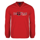 Colorblock V Neck Red/White Raglan Windshirt-Red Wolves w/Red Wolf Head Centered