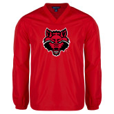 V Neck Red Raglan Windshirt-Red Wolf Head
