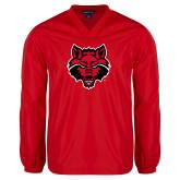 V Neck Red Raglan Windshirt-Red Wolf Head