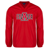 V Neck Red Raglan Windshirt-A State