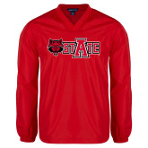 V Neck Red Raglan Windshirt-Red Wolf Head w/A State