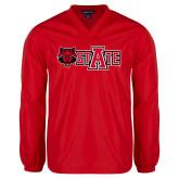 V Neck Red Raglan Windshirt-Red Wolf Head w/A State