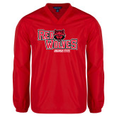 V Neck Red Raglan Windshirt-Red Wolves Stacked Head Centered