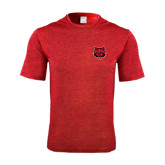 Performance Red Heather Contender Tee-Red Wolf Head