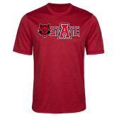 Performance Red Heather Contender Tee-Red Wolf Head w/A State