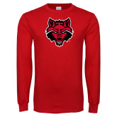 Red Long Sleeve T Shirt-Red Wolf Head