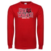 Red Long Sleeve T Shirt-Red Wolves Stacked Head on Right